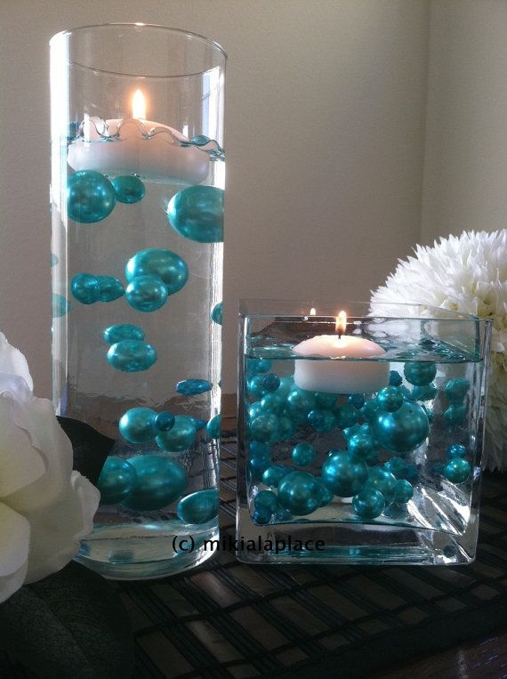Turquoise Green Jumbo Pearls/Table Confetti mix by MikialaPlace