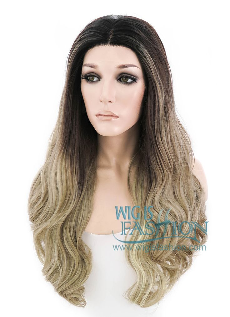 """28"""" Long Curly Medium Ash Blonde With Dark Roots Made-To-Order Lace Front Synthetic Hair Wig LF1557 - Wig Is Fashion"""