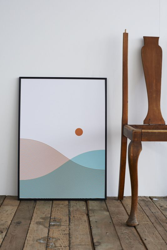 From Lane and Sea Print. Hand screen printed onto beautifully textured paper made in England. Available unframed or framed in an aluminium matt black finish.