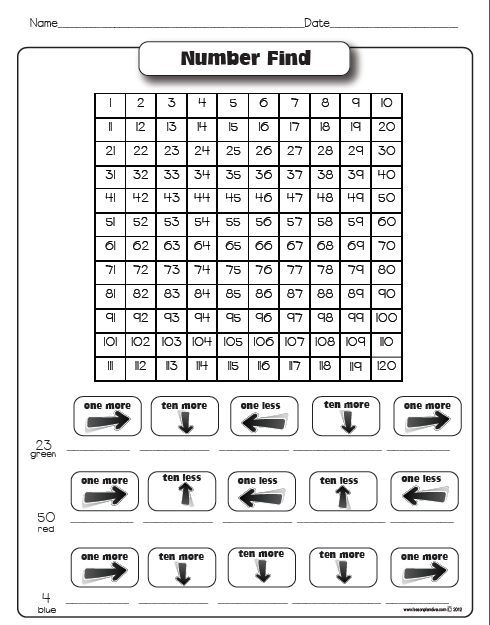Free 10 more/10 less - this would be great for a whole class game, give everyone their own hundreds board then call out instructions.: