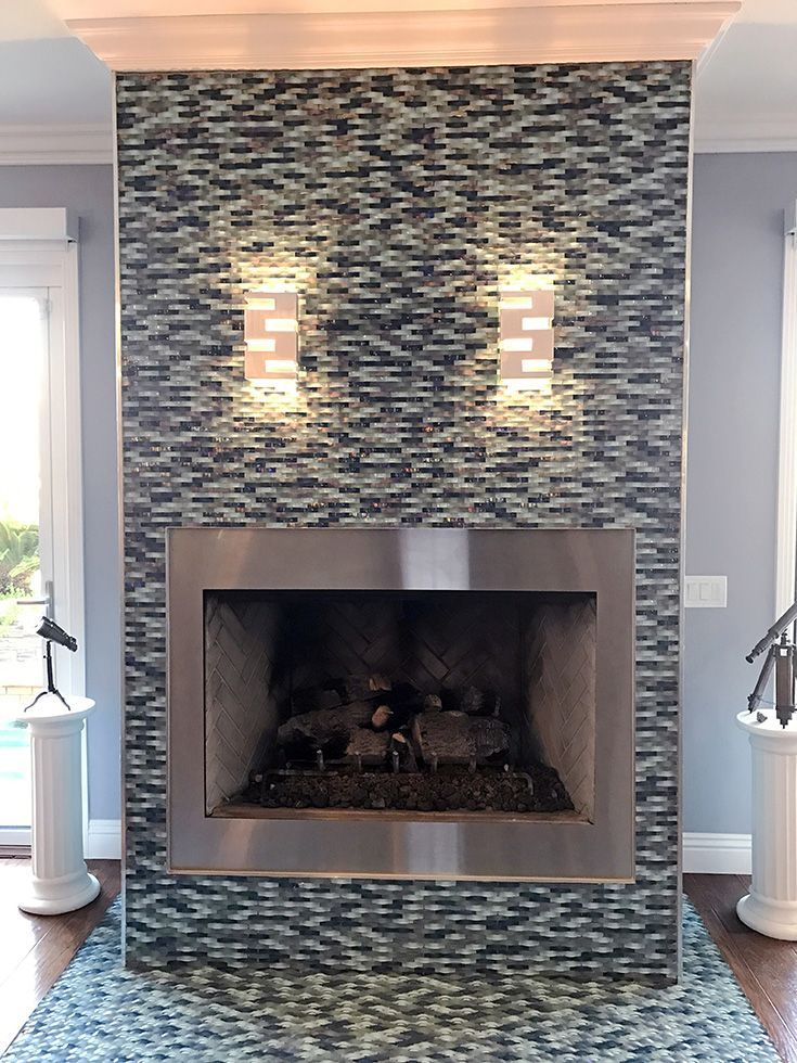 Stunning And Creative Use Of Ripple Stream Blue Wavy Mosaic Glass