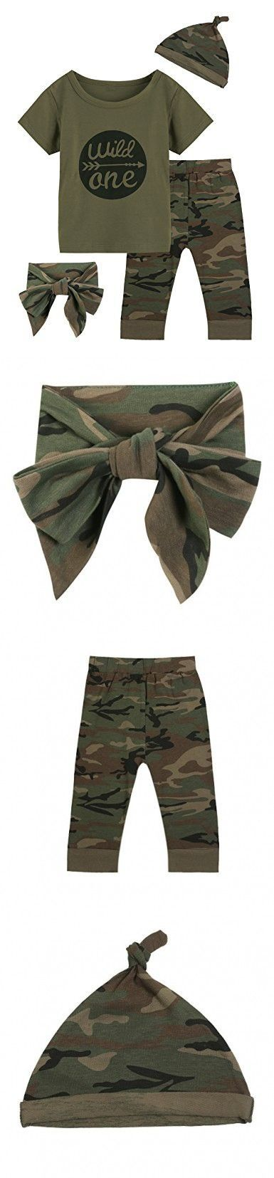 Baby Boys Girls Outfit Long Set 2PCS Camouflage Letter Print Shirt With Pants (Wild One Short Camouflage, 12-18 Months) #boyoutfits