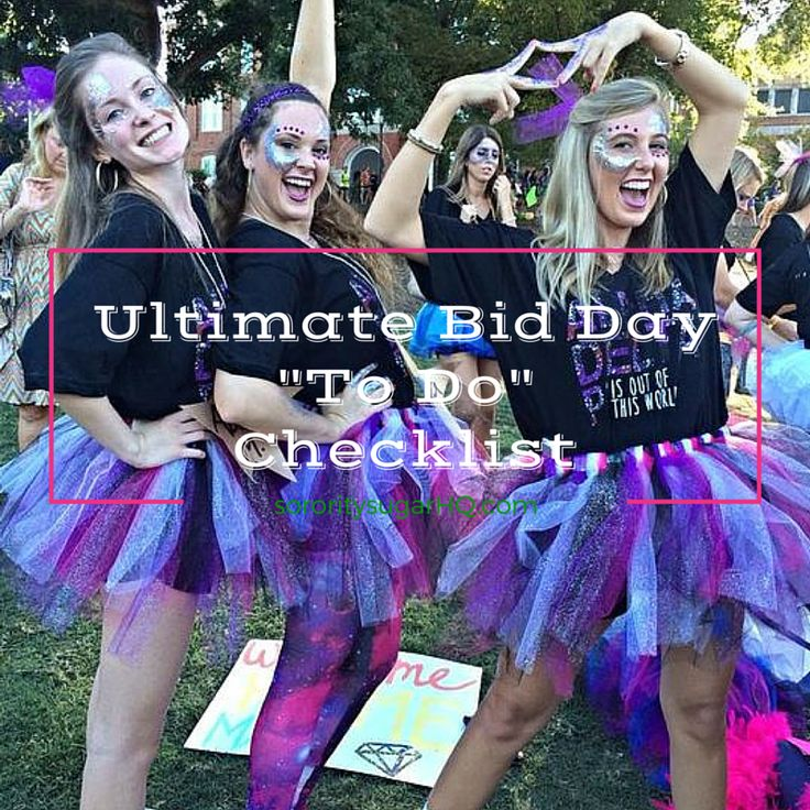 "<3 ""Ultimate Bid Day ""TO DO"" Checklist!"" <3 If you're involved with planning and prepping for your chapter's bid day, check out this NEW CHECKLIST of creative things to do. Get organized, customize your decor, boost your activities and 'sugarize' every detail of the day! <3"