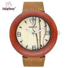 iBigboy DIY Wooden Watch Handcraft Sandalwood Zebrawood Quartz Leather Gift Fashion Casual Wristwatch IB-1604Ja(China (Mainland))