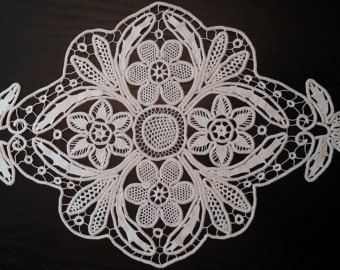 "Table Centerpiece Point Lace Romanian Style Crochet Doily, Ivory, Floral Pattern, 22"" x 13.5""  #40"