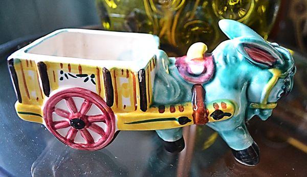 Image of Vintage Italian Pottery Donkey & Cart 1
