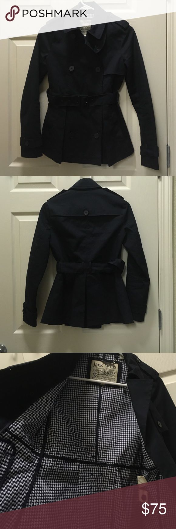 Jack Wills Short Trench Coat + backpack 🎒 Navy blue. US2. EUC. Free Jack Wills backpack with purchase. Jack Wills Jackets & Coats Trench Coats