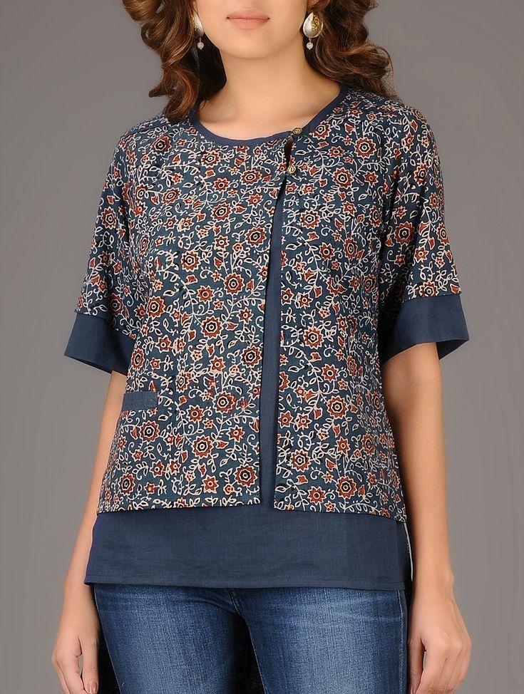 Buy Indigo Red Ajrakh printed Asymmetrical Cotton Top Women Tops Winter's Muse Contemporary tussar silk linen jackets and kalamkari kurtas Online at Jaypore.com