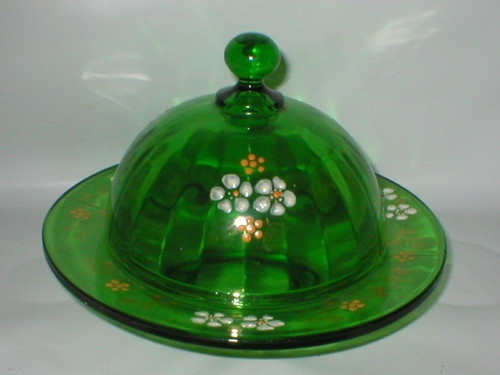 Antique Round Green Butter Dish/Cheese Keeper  $45.00