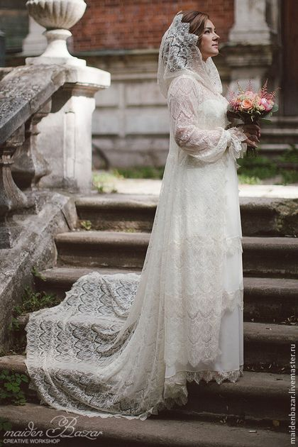 Одежда и аксессуары ручной работы. Ярмарка Мастеров - ручная работа. Купить Свадебное платье с накидкой.. Handmade. Белый, накидка для платья
