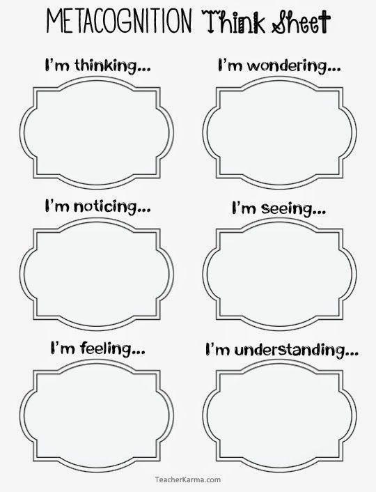Metacognition Think Sheets to improve reading comprehension.  TeacherKarma.com
