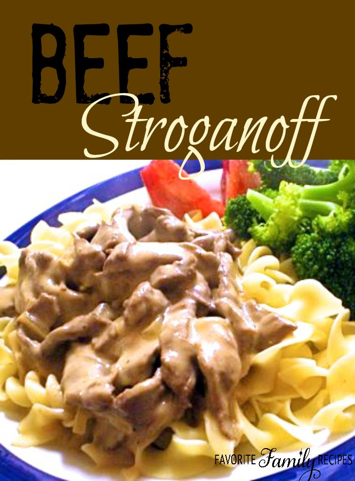 This is an easy and tasty beef stroganoff recipe. The beef always turns out so flavorful and tender.  Find all our yummy pins at https://www.pinterest.com/favfamilyrecipz/