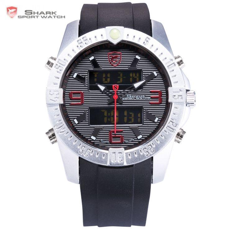 (34.82$)  Watch now  - New SHARK Sport Watch Fashion Black Digital Date Alarm Stopwatch Rubber Band Waterproof  Male Quartz Men Brand Clock/ SH375
