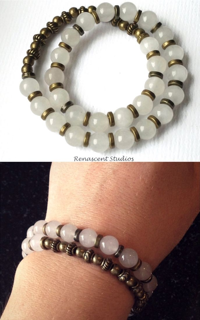 Unisex 27 bead wrist mala. This gemstone bracelet double wraps around your wrist. Made with Tibetan bronze & glorious Moonstones.