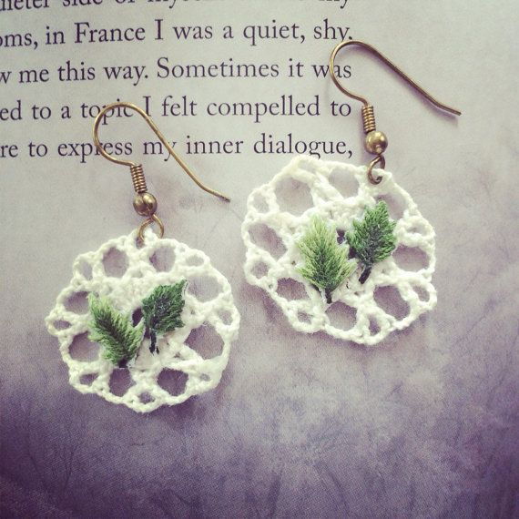 forest girl leaf earrings vintage fashion by BestowedCollections, $15.00