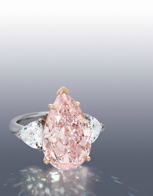 Important and Rare Pear-shaped Fancy Pink Diamond and Diamond Ring, 7.93 carats