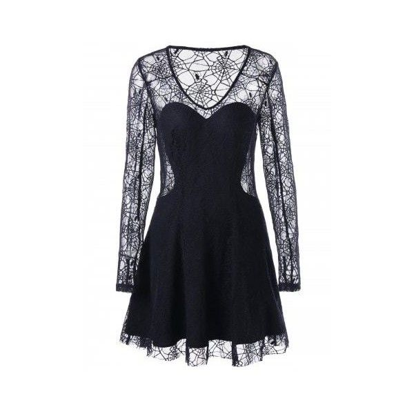 Halloween Spider Lace See Thru Dress ❤ liked on Polyvore featuring dresses, lace dress and lacy dress