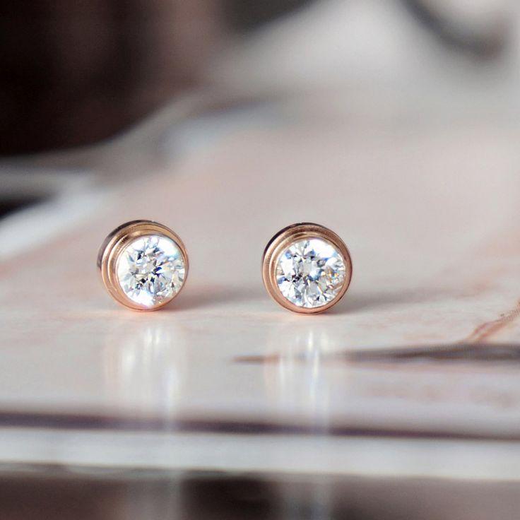 Cercei placati cu aur roz - buline de cristal - MSM-Shop