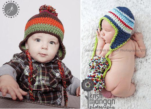 Gorros con orejeras para niños y bebés: patrones