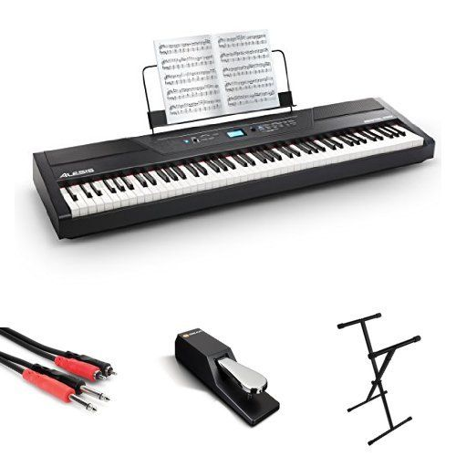 Alesis Recital Pro 88-Key Digital Piano with Hammer-Action Keys + On Stage Keyboard Stand + Piano Style Pedal + Hosa CPR-202 Dual ¼ inch Interconnect Cable     jsmartmusic88.com