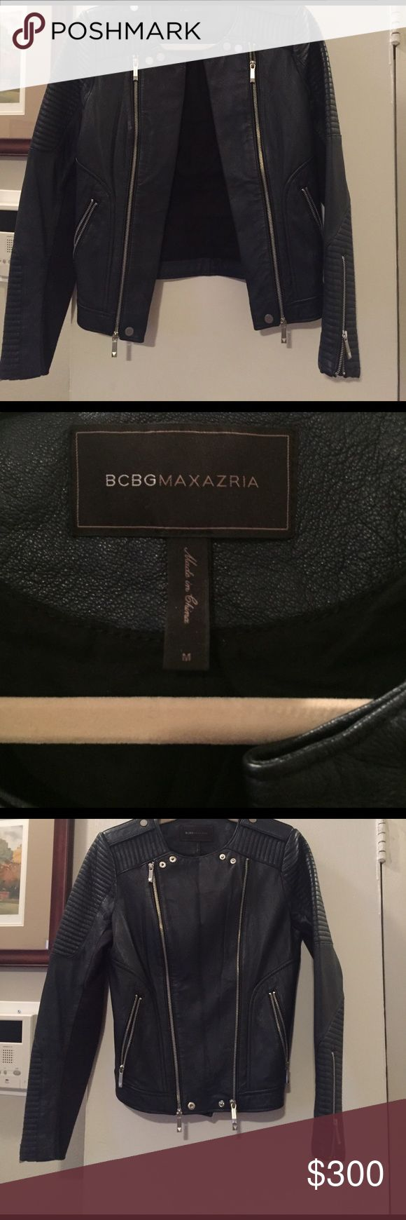 BCBG Navy Moto Leather Jacket 100% leather jacket. Navy, zippers all work great, zippers open up to extend across. See pics. BCBG Jackets & Coats