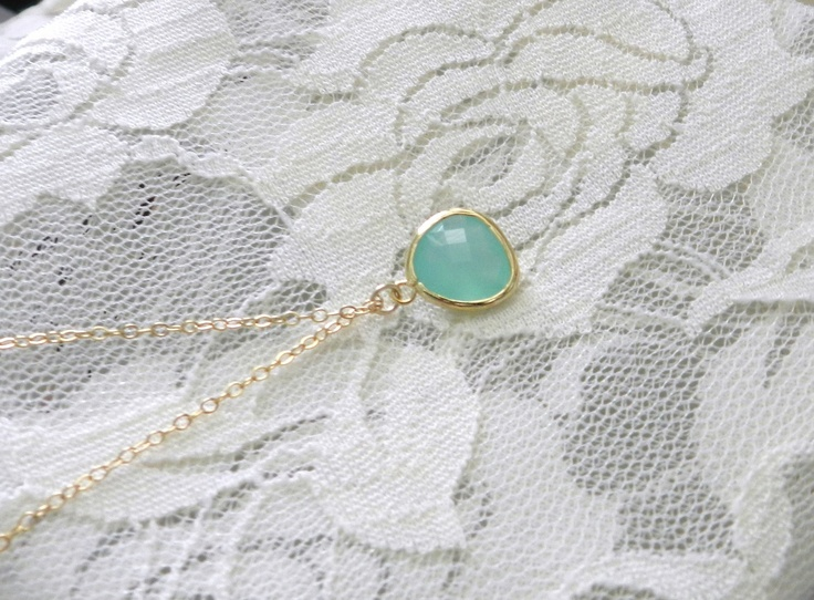Mint julep, gold, delicate modern jewelry. $18.00, via Etsy.