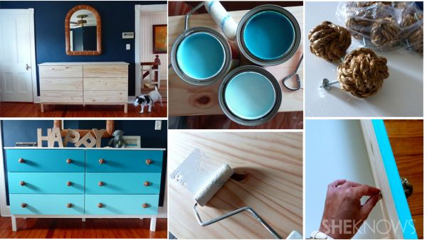Nautical Inspired Ombre Chest of Drawers by Sweet Dani B for SheKnows and Glidden Paint- see the step by step DIY