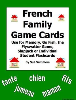 French Family Cards for Flashcards, Memory, Go Fish, Flyswatter Game by Sue Summers