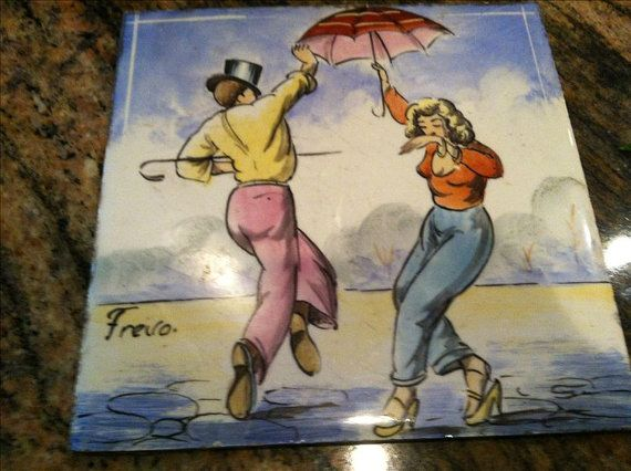 vintage tile of couple dancing by oodlesofrandomstuff on Etsy, $15.00