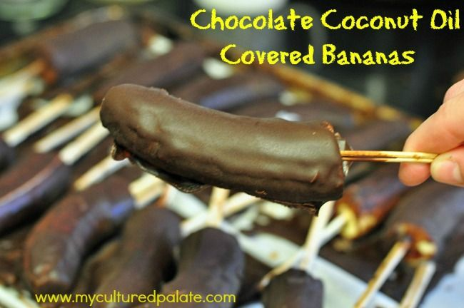 Chocolate Covered Frozen Bananas With Coconut Oil
