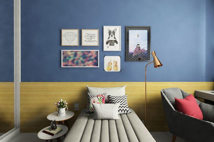 Chambre d'ado avec composition de tête de lit et cadre en bois