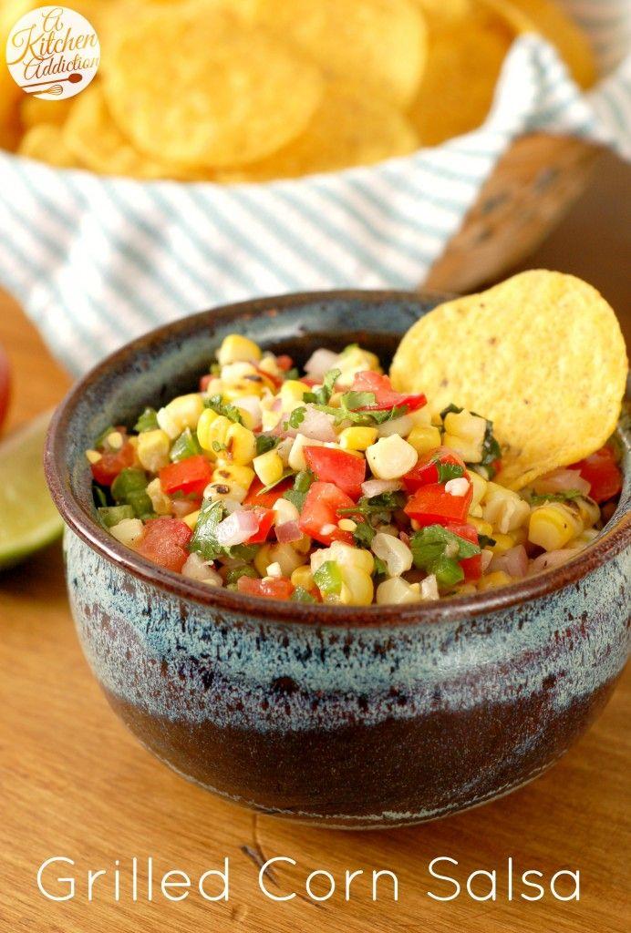 Grilled Corn Salsa Recipe l www.a-kitchen-addiction.com