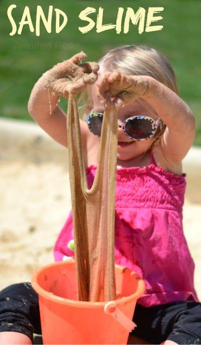 Sand Slime Recipe.  What could be more fun than super stretchy, OOZING sand?  My kids had so much fun with this stuff, and it is SO EASY to make!