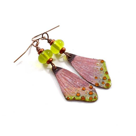 Pink and Green Butterfly Wings Boho Chic Earrings Antique