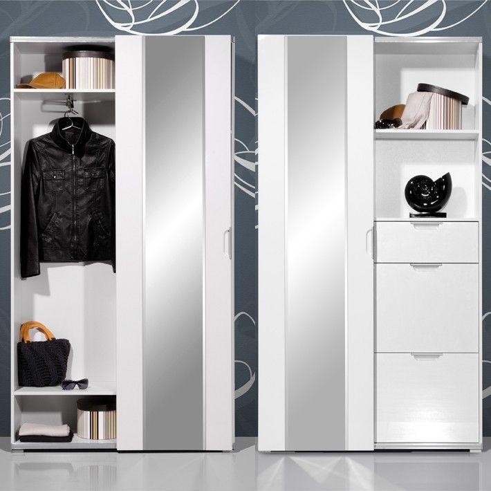Vestiaire Blanc Brillant Complet Pour Une Entree Moderne So Inside Meuble Vestiaire Entree Vestiaire Entree Entree Moderne