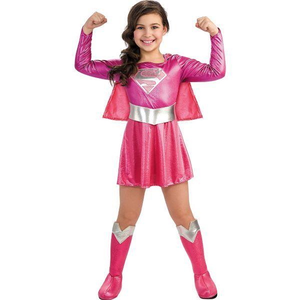 Girls Pink Supergirl Costume - Superman