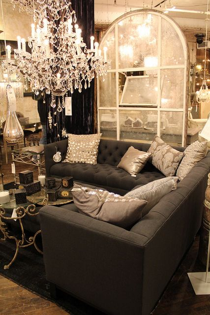.: Grey Couch, Platnum Pillows, Decor Ideas, Living Rooms, Tufted Sofas, Dark Couch, Window Panes, Charcoal Couch, Black Couch