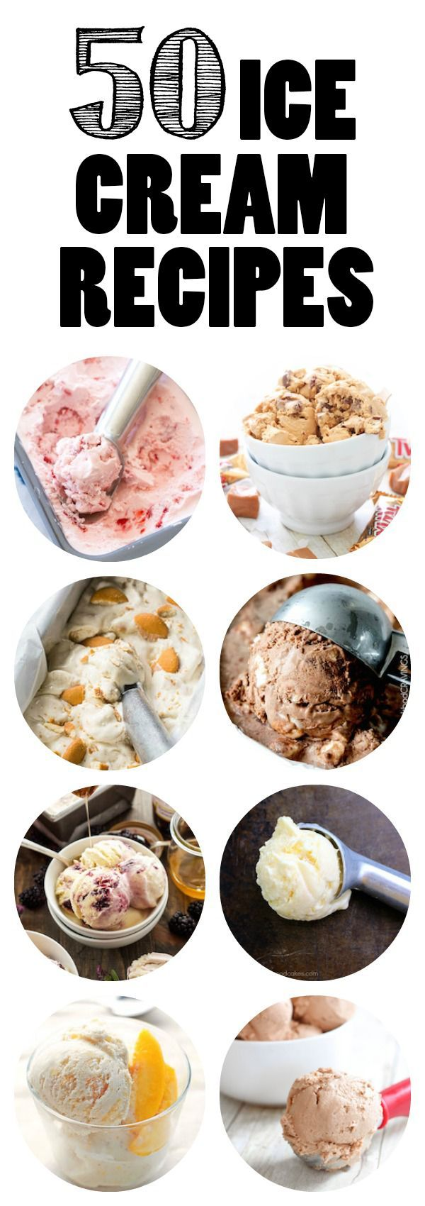 50 Ice Cream Recipes - Every one of these is an ice cream recipe that I want to try! And they are all from such awesome bloggers.  http://www.highheelsandgrills.com/50-ice-cream-recipes-roundup/