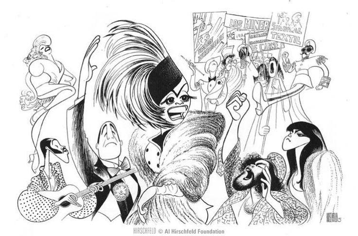 Al Hirschfeld ~ EVITA, with Patti LuPone, Mandy Patinkin, Bob Gunton, Jane Ohringer, and Mark Syers.