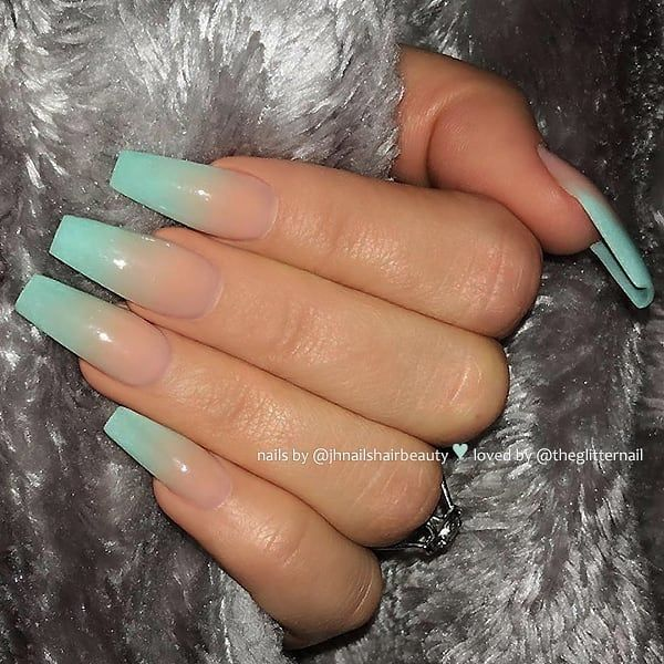 Repost Bright Turquoise And Ombre Effect On Long Coffin Nails Pi Longnails Lo Turquoise Nails Bright Acrylic Nails Turquoise Acrylic Nails