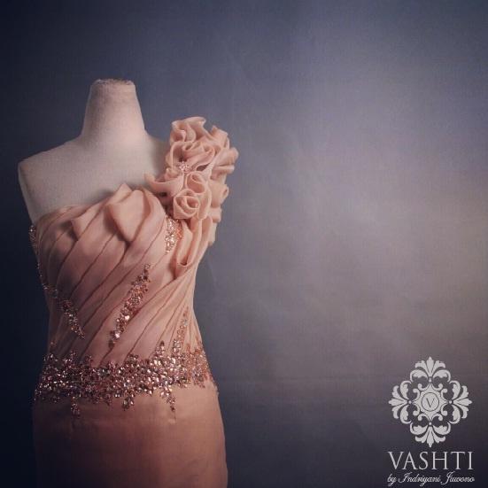 Nude organdi dress