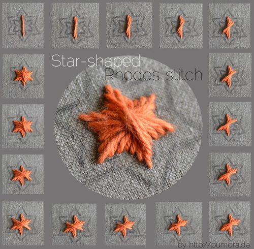 Tutorial: star-shaped rhodes stitch | Pumora | Her embroidery stitch tutorials are so visually pleasing (and helpful too).