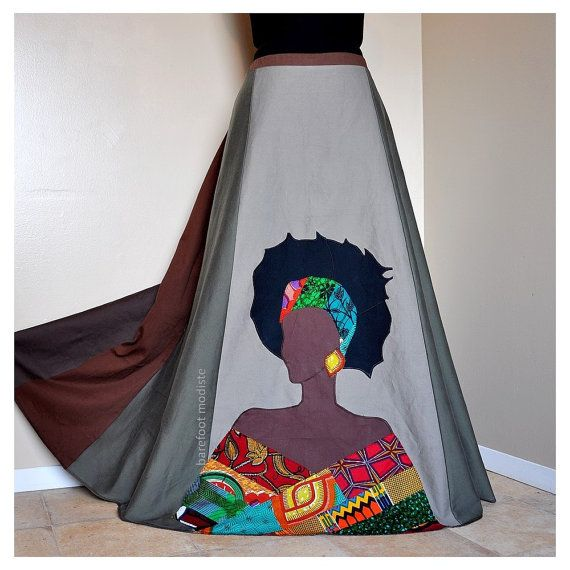 Reine  Long Appliqued African skirt  Ooak by BarefootModiste