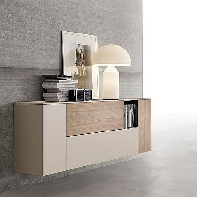 Beige ultramodern bookshelf 'Kylie' wall unit. Light colour, contemporary design. Perfect for your hallway, bedroom. My Italian Living.