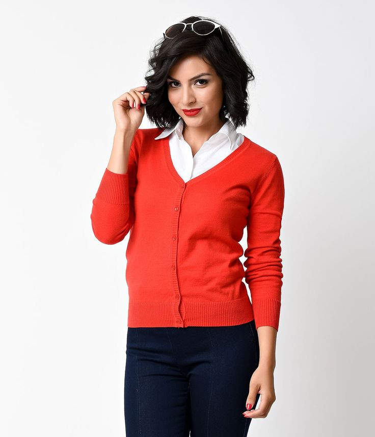 1950s Style Red Button Down Long Sleeve V-neck Cardigan