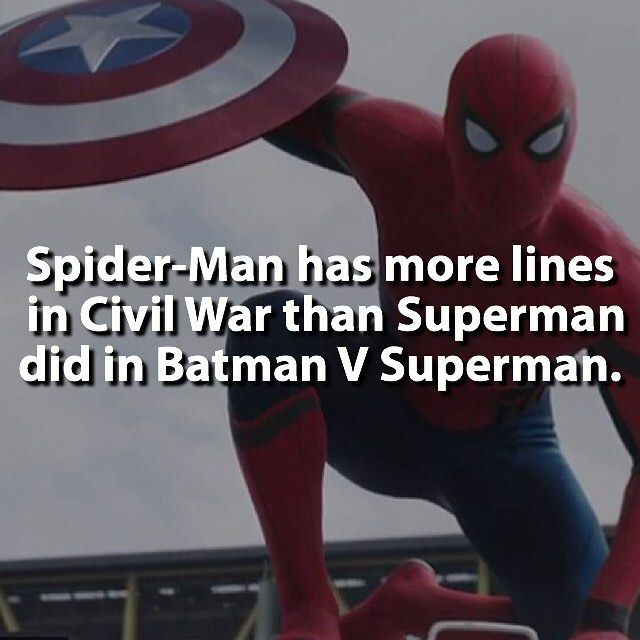 Spider-Man had a cameo with 47 lines, whereas Superman was in the title of the movie but only had 43 lines.
