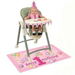 Stoel set 1 jaar meisje - Een geweldig leuke set voor de eerste verjaardag van uw dochter! In dit pakket zit een slabbetje, een hoedje, een vlaggenlijntje en een plastic vloermat van 121.9 x 76.2cm!   www.feestartikelen.nl