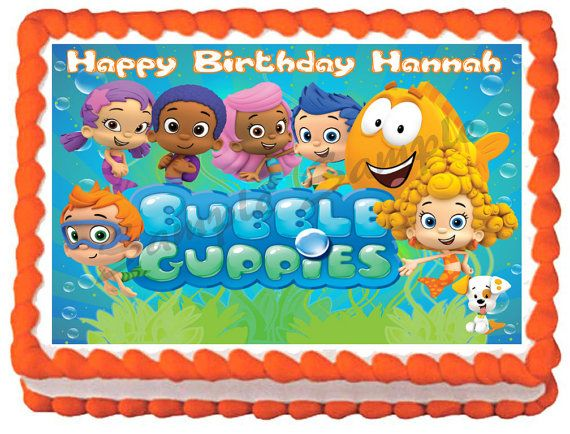 BUBBLE GUPPIES  # 2 Edible image cake topper 1/4 sheet, 1/2 sheet, cupcakes and more sizes available on Etsy, $8.50