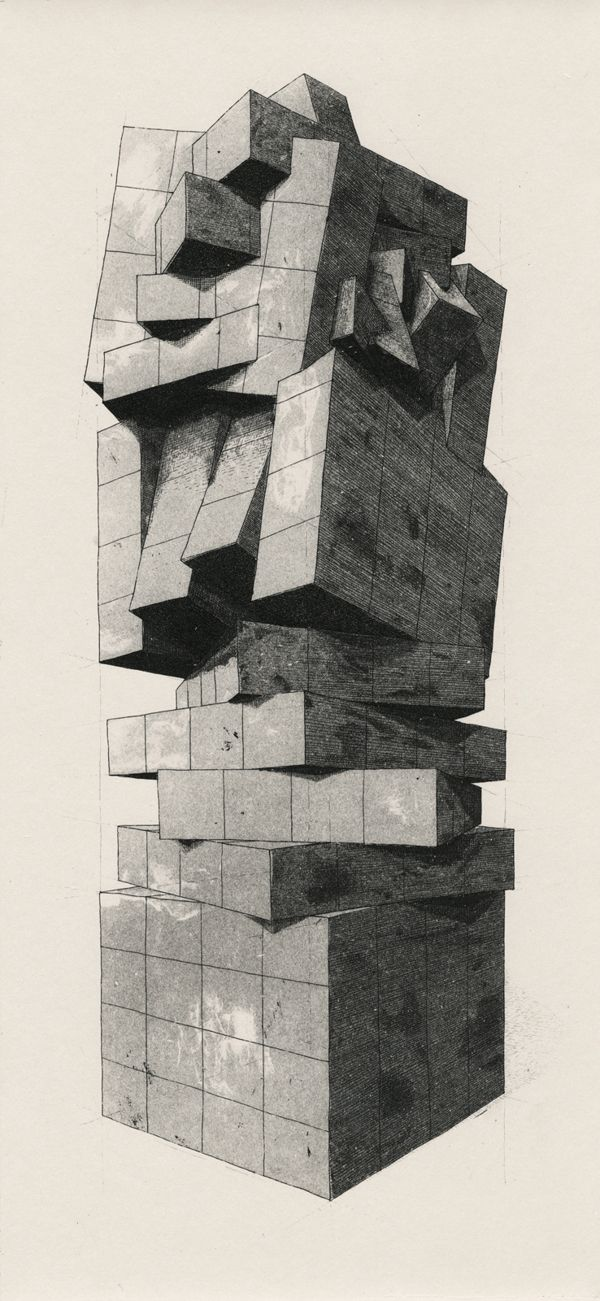 The Geometry of Living - Towers by Martin Reznik, The Geometry of Living is a series of etchings, which contemplate functionality of the modern estate architecture.