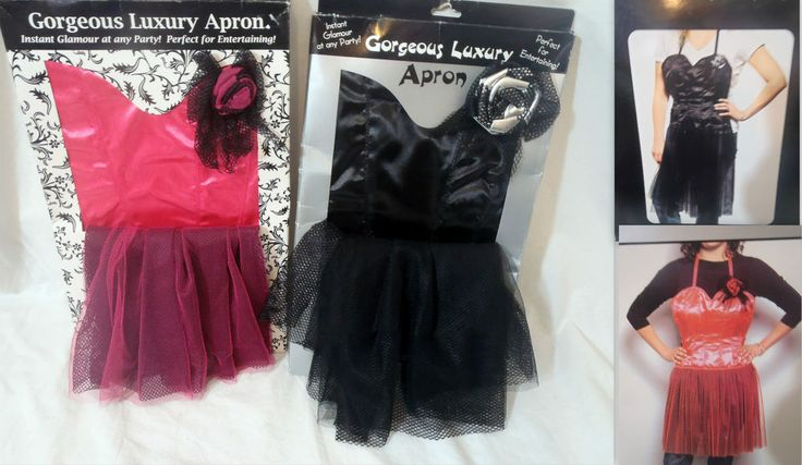 Novelty Luxury Glitzy Dinner Party Hostess Burlesque Fancy Dress Apron Pink/Blk